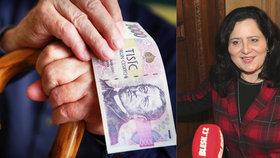 Důchodci nad 85 let mají dostat tisícovku navíc. Potřebují to, říká ministryně Němcová