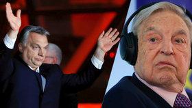 Premiér Viktor Orbán a vpravo George Soros