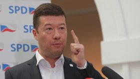 Jednání Sněmovny: Tomio Okamura (SPD) na tiskovce