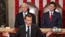 Francouzský prezident Emmanuel Macron promluvil v americkém Kongresu.