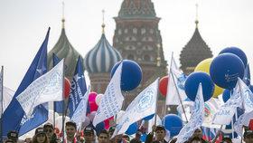 Prvomájový průvod odborářů v Moskvě.