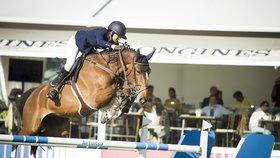 Anna Kellnerová s koněm Balguerem na parkurové lize v Madridu předvedla vynikající výkony...