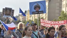 Protest proti Andreji Babišovi a vládě s podporou KSČM (9. 5. 2018)