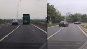 Řidič jezdí jak blázen.