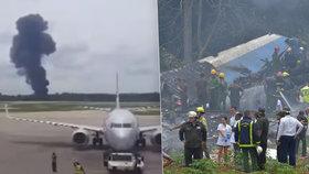Na letišti v Havaně se po startu zřítil Boeing 737