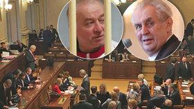 Poslanci mají jednat o výrocích Miloše Zeman ke kauze novičok. Prezident tvrdí, že se látka vyráběla a testovala v Česku. Tajné služby to popírají.