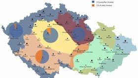 Jazykové mapy ukazují, jak se liší slovní zásoba v různých regionech.