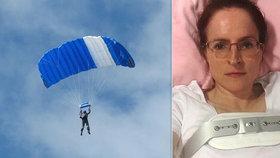 Vicky Cilliersová může mluvit o zázraku, přežila pád z více než kilometrové výšky poté, co se jí manžel rozhodl záměrně poškodit padák