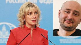 Ruská mluvčí Maria Zacharovová okomentovala zinscenovanou vraždu novináře Babčenka.