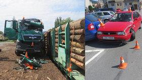 Na Jesenicku spadl kamion do kolejiště: Hasiče vyjíždějící k nehodě naboural osobák