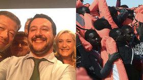 """Matteo Salvini (vlevo uprostřed) a spolu s ním """"uříznutý"""" Tomio Okamura či Marine Le Penová na společné selfie. Imigranty svorně odmítají"""