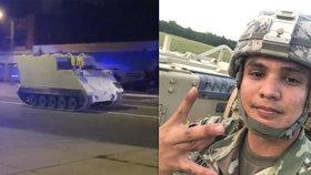 Gardista v USA ukradl obrněný vůz, dvě hodiny ujížděl policii