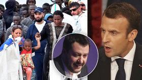 """Loď italské pobřežní stráže vyložila na Sicílii 932 migrantů.  """"Pokrytec"""" Macron se kvůli tomu zhádal s """"cynikem"""" Salvinim (13. 6. 2018)."""