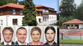 Čtveřice poslanců ze Sněmovního podvýboru pro heraldiku a vexilologii, který se opět sešel v rekreačním objektu Sněmovny v Posázaví.