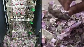 Myš se dostala do bankomatu a rozkousala bankovky.