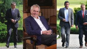 Prezident Miloš Zeman (uprostřed) je klíčovým hráčem vznikající nové vlády Andreje Babiš (ANO, vlevo) a ČSSD (vpravo)