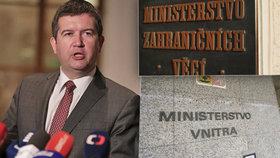 Jan Hamáček věří, že ministerstvo vnitra a zahraničí nepovede dohromady dlouho. Situaci by chtěl vyřešit nejpozději po letních prázdninách.