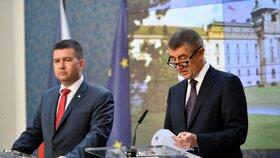 První tisková konference nové vlády: Premiér Andrej Babiš (ANO) a 1. vicepremiér Jan Hamáček (ČSSD)