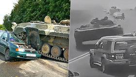 Řidič ztratil kontrolu nad tankem a vletěl do osobáku, důchodce a jeho vnuk vyvázli téměř bez zranění.