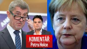Český premiér Andrej Babiš (ANO) a německá kancléřka Angela Merkelová v komentáři Petra Holce
