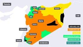 Mapa Sýrie (3. 7. 2018)