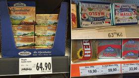 Máslo stojí v některých českých obchodech znovu přes 60 korun.