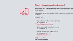 Výpadek internetového bankovnictví Poštovní spořitelny.