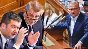 Babišova vláda s Hamáčkovou ČSSD a podporou KSČM získala důvěru, nezvrátily to ani ataky Miroslava Kalouska (TOP 09)