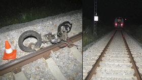 Motorkář zemřel po střetu s vlakem