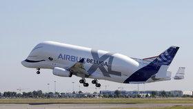 Z letiště v Toulouse poprvé vzlétl nový model obřího nákladního letounu Airbus Beluga XL. Oproti svému předchůdci je o 30 procent větší (19.7. 2018).