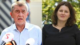 Premiér Babiš (ANO) se sejde s kandidátkou ČSSD na ministryni spravedlnosti Janou Maláčovou.
