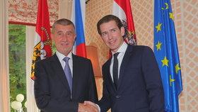 Andrej Babiš v Salzburgu se Sebastianem Kurzem (27.7.2018)