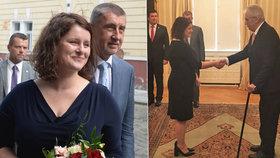 Zeman jmenoval v Lánech Janu Maláčovou (ČSSD) ministryní práce a sociálních věcí, Andrej Babiš ji uvedl do úřadu