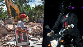Indonéský prezident Joko Widodo řádil na Asijských hrách, jeho země se vzpamatovává ze zemětřesení.