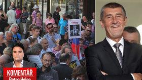 Pietní akt se zvrhl v ukřičenou demonstraci proti Andrejovi Babišovi