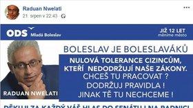 Ostrá kampaň Raduana Nwelatiho (ODS), primátora Mladé Boleslavi.