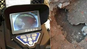 Hasiči na Přerovsku zachraňovali pejska z kanálu: Museli vykopat jámu a trubku rozebrat.