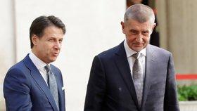 Italský premiér Giuseppe Conte a jeho český protějšek Andrej Babiš (28. 8. 2018)