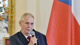 Prezident Miloš Zeman hovořil 29. srpna 2018 na Pražském hradě při setkání s vedoucími zastupitelských úřadů České republiky v zahraničí.