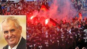 Zemanových komentářů k demonstracím v Chemnitz si všímají i německá média