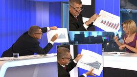 Premiér Andrej Babiš (ANO) na Primě s grafy a moderátorkou Terezií Tománkovou (2. 9. 2018)