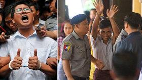 Odsouzení novináři Wa Lone (vlevo) a Ťjo Sou U (vpravo).