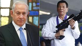 Filipínský prezident Rodrigo Duterte hledá nového dodavatele zbraní. O jejich nákupu přijel jednat s izraelským premiérem Benjaminem Netanjahuem.