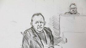 Skica ze soudního přelíčení s Peterem Madsenem. Na obraze zachycena výpověď obžalovaného.