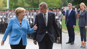 Andreje Babiše přijala kancléřka Merkelová v Berlín s vojenskými poctami. Do Německa vyrazila s premiérem i jeho manželka Monika (5.9.2018)