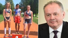 Slovenský prezident Andrej Kiska se setkal s mladou běžkyní, která vyhrála závod jen v balerínách