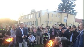 Miloš Zeman zapaluje Masarykovu vatru, Lány, 8.9.2018