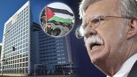 """Spojené státy zaujmou """"agresivní postoj"""" vůči haagskému soudnímu dvoru, pokud bude pokračovat v přípravě na vyšetřování údajných amerických válečných zločinů v Afghánistánu. Pohrůžku bude obsahovat dnešní projev bezpečnostního poradce Bílého domu Johna Boltona. V projevu rovněž oznámí uzavření palestinské kanceláře ve Washingtonu (10.9.2018)."""
