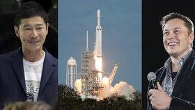 Prvním vesmírným turistou, který se vydá na oběžnou dráhu kolem Měsíce, bude japonský miliardář Jusaku Maezawa. Do vesmíru jej vynese raketa amerického miliardáře a majitele společnosti SpaceX Elona Muska (18. 9. 2018).