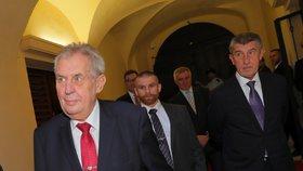 Prezident Miloš Zeman dorazil za premiérem Andrejem Babišem (ANO) kvůli státnímu rozpočtu (19. 9. 2018)